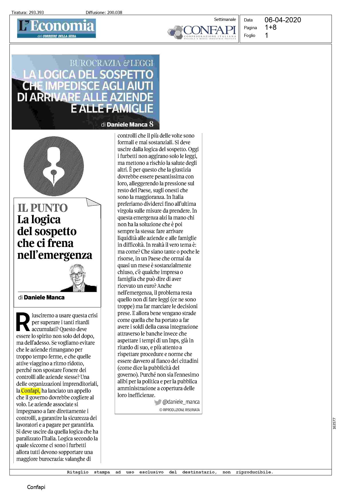 L'iniziativa di Confapi su Corriere della Sera